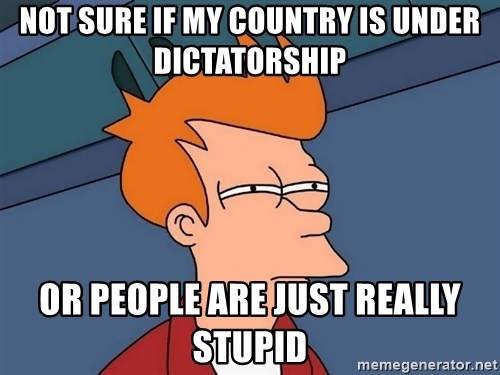 Futurama Fry - NOT SURE IF MY COUNTRY IS UNDER DICTATORSHIP or people are just really stupid