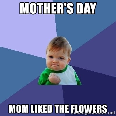 Success Kid - Mother's Day Mom liked the flowers