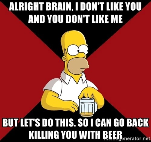 Homer Jay Simpson - ALRIGHT BRAIN, I DON'T LIKE YOU AND YOU DON'T LIKE ME BUT LET'S DO THIS. SO I CAN GO BACK KILLING YOU WITH BEER