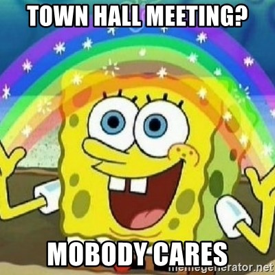 Spongebob - Nobody Cares! - Town hall meeting? mobody cares