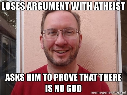 Asshole Christian missionary - loses argument with atheist asks him to prove that there is no god