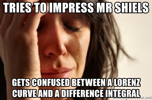 First World Problems - Tries to impress Mr shiels gets confused between a Lorenz Curve and a difference integral