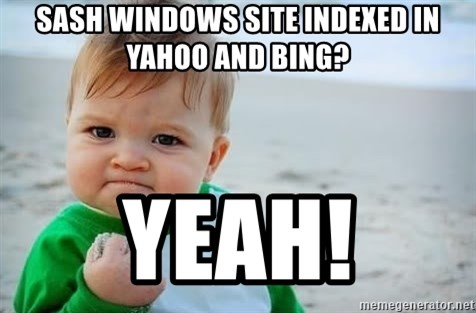fist pump baby - SAsh windows Site indexed in Yahoo and Bing? Yeah!