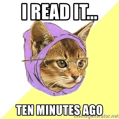 Hipster Kitty - I read it... ten minutes ago