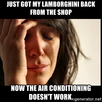 First World Problems - Just got my Lamborghini back from the shop now the air conditioning doesn't work.
