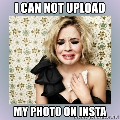 Crying Girl - I can not upload my photo on insta