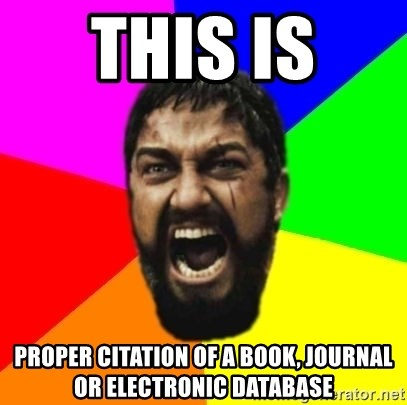 sparta - This Is  proper citation of a book, journal or electronic database