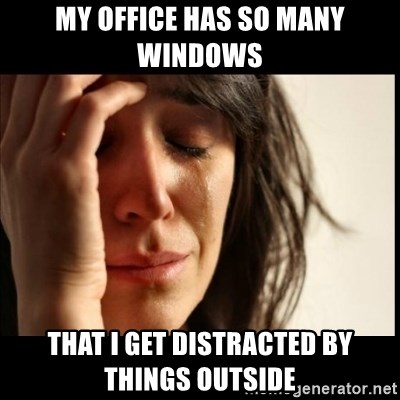 First World Problems - My office has so many windows  that i get distracted by things outside