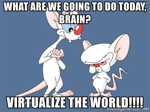 Pinky And The Brain - what are we going to do today, brain? virtualize the world!!!!