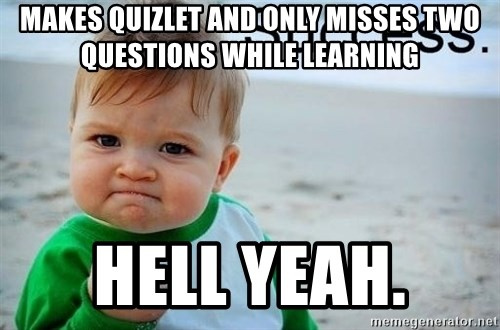 success baby - MAkes quizlet and only misses two questions while learning Hell yeah.