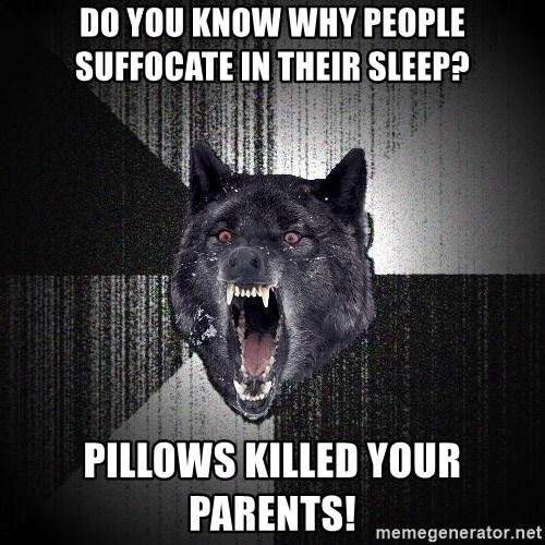 Insanity Wolf - do you know why people suffocate in their sleep? pillows killed your parents!