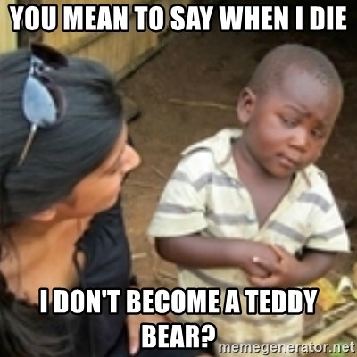 Skeptical african kid  - You mean to say whEn I die I don't become a teddy bear?