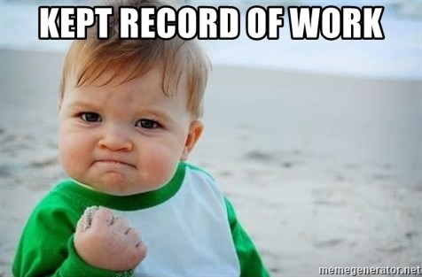 fist pump baby - kept RECORD of work