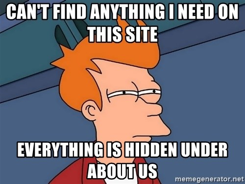 Futurama Fry - can't find anything i need on this site everything is hidden under about us
