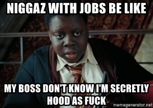 Harry Potter Black Kid - Niggaz with Jobs be like My boss don't know I'm secretly hood aS fuck