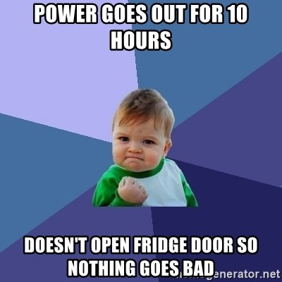 Success Kid - Power goes out for 10 hours DoeSn't open fridge door so Nothing goes bad
