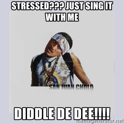 san juan cholo - STRESSED??? JUST SING IT WITH ME DIDDLE DE DEE!!!!
