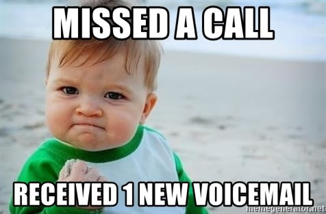 fist pump baby - Missed a call received 1 new voicemail