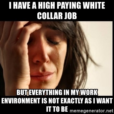 First World Problems - I HAVE A HIGH PAYING WHITE COLLAR JOB BUT EVERYTHING IN MY WORK ENVIRONMENT IS NOT EXACTLY AS I WANT IT TO BE
