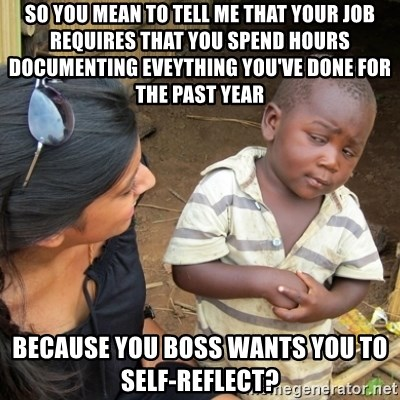 Skeptical 3rd World Kid - So you mean to tell me That your job requires that you spend hours documenting eveything you've done for the past year Because you boss wants you to self-reflect?