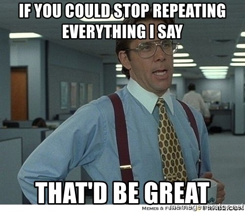 That would be great - if you could stop repeating everything i say  That'd be great