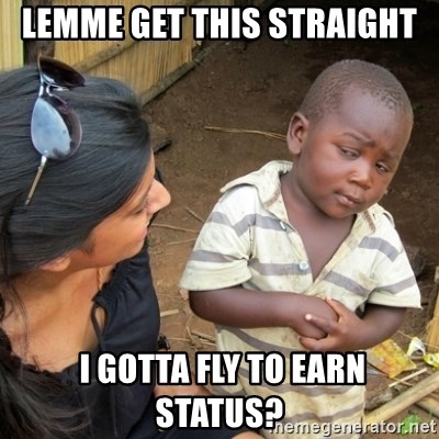Skeptical 3rd World Kid - lemme get this straight  i gotta fly to earn status?