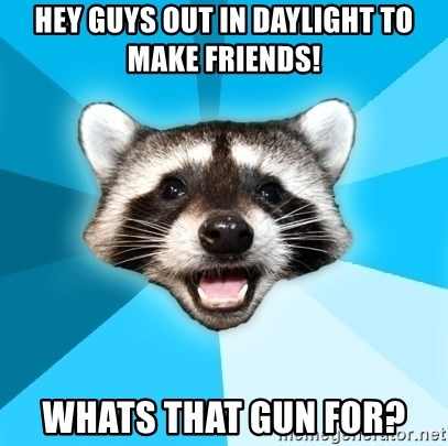 Lame Pun Coon - Hey guys out in daylight to make friends! whats that gun for?