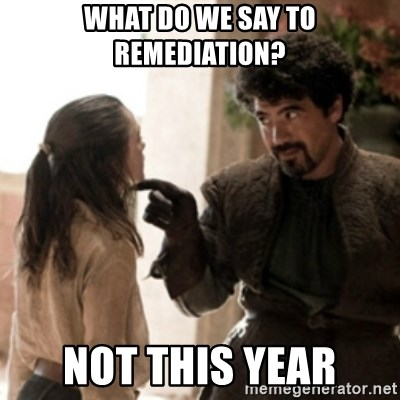 Not today arya - What do we say to Remediation? Not this year