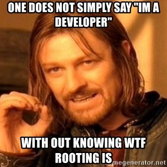 """One Does Not Simply - one does not simply say """"im a developer"""" with out knowing WTF Rooting is"""