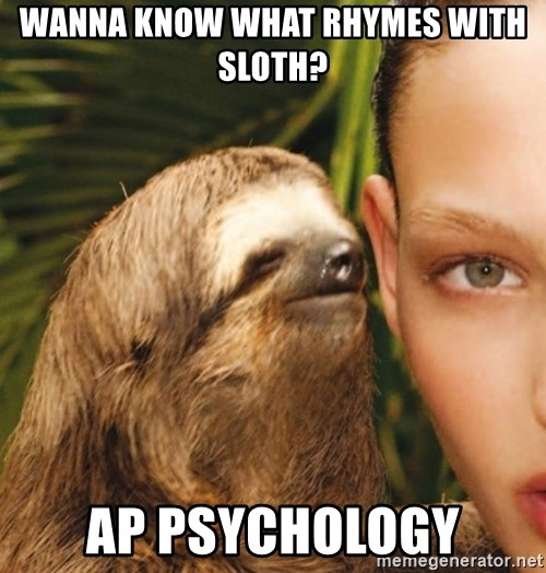 The Rape Sloth - wanna know what rhymes with sloth? ap psychology