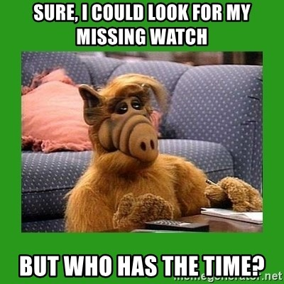 alf - sure, i could look for my missing watch but who has the time?