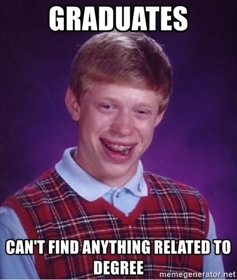 Bad Luck Brian - Graduates can't find anything related to degree