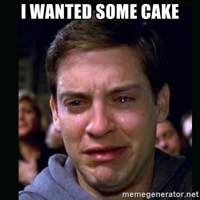 crying peter parker - I WANTED SOME CAKE