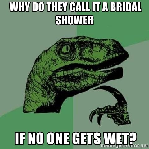 Philosoraptor -  why do they call it a bridal shower  if no one gets wet?