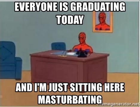 Spiderman Desk - Everyone is Graduating today and i'm just sitting here masturbating