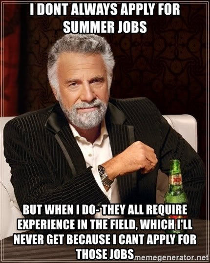 The Most Interesting Man In The World - I dont always apply for summer jobs but when i do- they all require experience in the field, which i'll never get because i cant apply for those jobs
