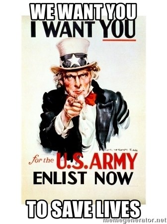I Want You - we want you to save lives