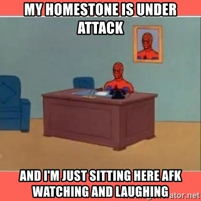 Masturbating Spider-Man - My homestone is under attack and i'm just sitting here afk watching and laughing