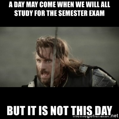 But it is not this Day ARAGORN - A day may come when we will all study for the semester exam But it is not this day