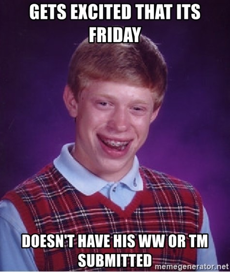Bad Luck Brian - gets excited that its friday DOESN'T have his ww or TM submitted