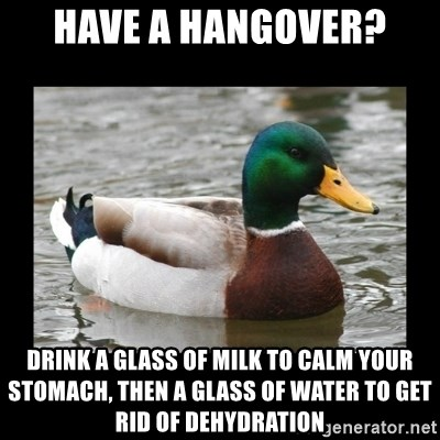 advice mallard - Have a hangover? Drink a glass of milk to calm your stomach, then a glass of water to get rid of dehydration