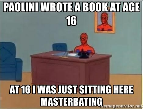 Spiderman Desk - Paolini wrote a book at age 16 at 16 I was just sitting here masterbating