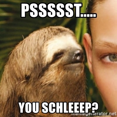 Whispering sloth - Pssssst..... You schleeep?