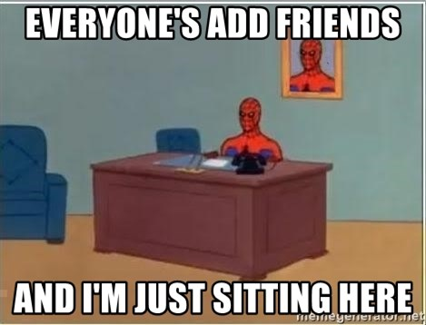 Spiderman Desk - everyone's add friends and i'm just sitting here