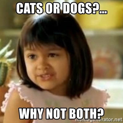 why not both girl - CATS OR DOGS?... WHY NOT BOTH?