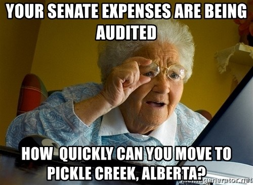 Internet Grandma Surprise - YOUR SENATE EXPENSES ARE BEING AUDITED hOW  QUICKLY CAN YOU MOVE TO PICKLE CREEK, ALBERTA?
