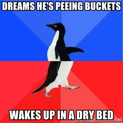 Socially Awkward to Awesome Penguin - dreams he's peeing buckets Wakes up in a dry bed