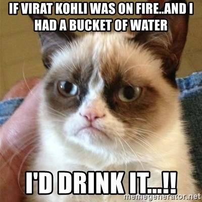 Grumpy Cat  - if virat kohli was on fire..and i had a bucket of water i'd drink it...!!