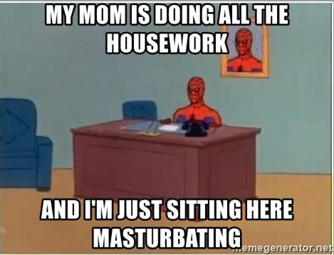 Spiderman Desk - my mom is doing all the housework and i'm just sitting here masturbating