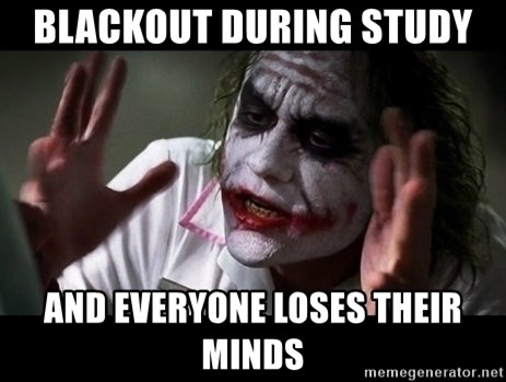 joker mind loss - blackout during study and everyone loses their minds